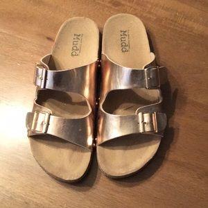 Rose Gold Slide On Sandals